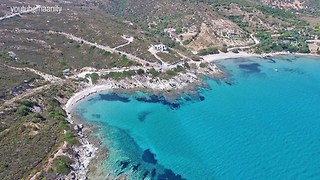 Stunning turquoise beaches in Euboea, Greece filmed from drone - Video