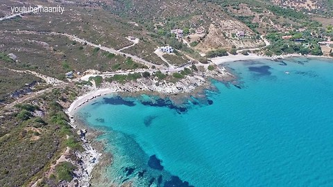 Stunning turquoise beaches in Euboea, Greece filmed from drone