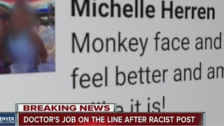 Doctor's job on the line after racist post - Video