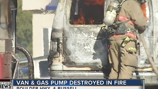 Van catches fire at gas station - Video