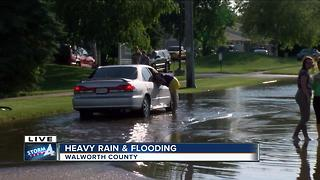 Police say don't driver or swim over standing water