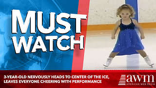 3-Year-Old Nervously Heads To Center Of The Ice, Leaves Everyone Cheering With Performance - Video