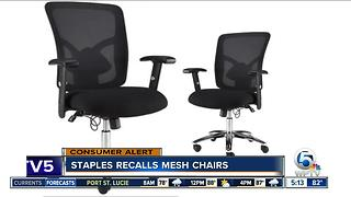 Staples recalls mesh chairs - Video