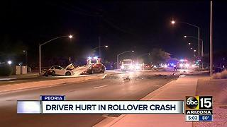 Driver hurt after rollover crash in Peoria - Video