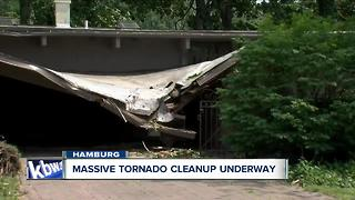 Massive cleanup in Hamburg after tornado causes widespread damage. - Video