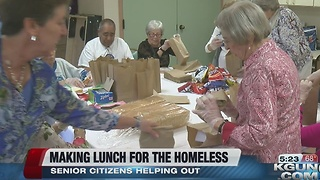 Seniors gather to make lunch for the homeless - Video