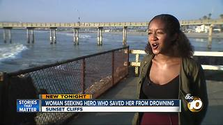Woman searches for hero who saves her from drowning - Video