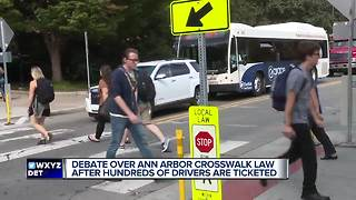 Debate over Ann Arbor crosswalk law after hundreds of drivers are ticketed - Video