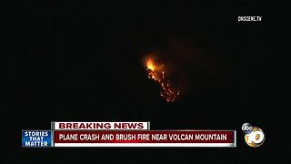 Plane crash and brush fire near Volcan Mountain - Video