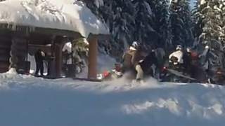 Snowmobiler crashes into fellow rider while parking at the cabin