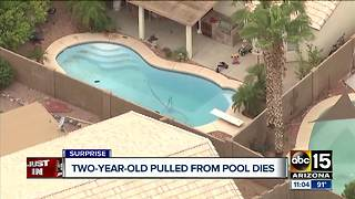 Two-year-old dies after being pulled from Surprise pool