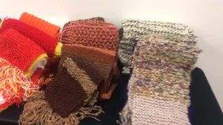 MarksNelson employees knit scarves for homeless - Video