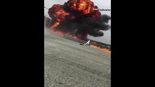 Multiple videos show Cessna crashing into 405 Freeway in Southern California - Video