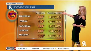 Low grade storm chances and record highs