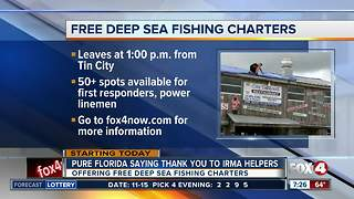 Fishing charter offers free trip to Irma recovery workers - Video