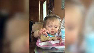 Baby Girl Wants More Cheese Instead Of A Sandwich