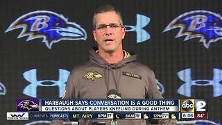 Ravens head coach comments on National Anthem in London