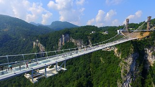 China's First High Attitude Glass Bridge (Opened To Tourists)  - Video