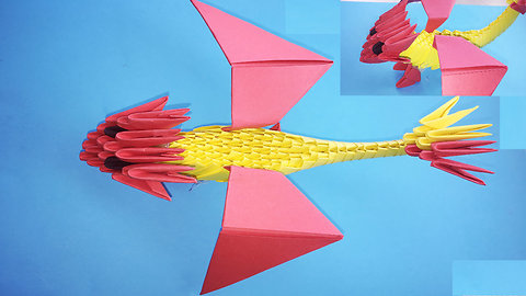 3D origami dragon red Night Fury - How to make 3d origami dragon