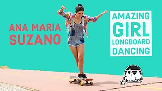 Amazing longboard dancing girl shows off skills - Video