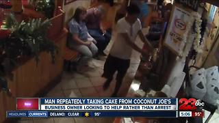 Man seen stealing cake from business, but owner looking to help
