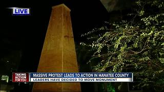 Manatee County Commissioners vote to move Confederate monument following arrests, massive protest - Video