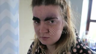 Man draws over girlfriend's eyebrows with permanent marker - Video