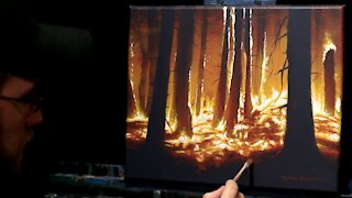 Acrylic Landscape Painting of a Forest Fire - Time Lapse - Artist Timothy Stanford