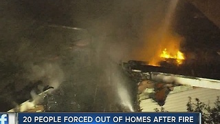 20 people forced out of homes after fire - Video