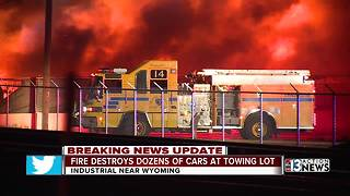 Fire destroys cars at Las Vegas tow yard - Video
