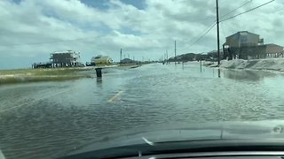 Roads in Dauphin Island, Alabama, Flooded as Hurricane Michael Approaches