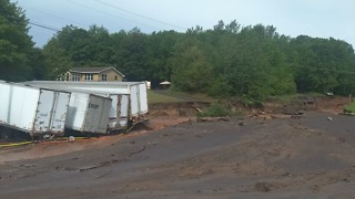 Road From Lake Linden Washed Away After Flash Flooding - Video