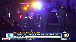 Teens detained after leading San Diego police on pursuit in Mira Mesa