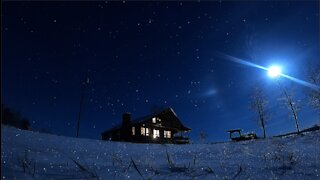 4K snowy Christmas Day cabin sky lapse