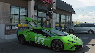 Lamborghini owner takes posing on his car to a new extreme for Instagram fan request