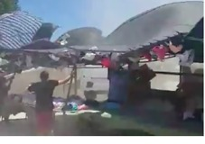 Dust Devil Whips Through Market on Spain's Costa Blanca - Video