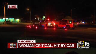 Woman in critical condition after being hit by a car in Phoenix - Video