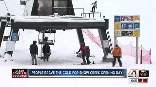Skiers hit the slopes at Snow Creek - Video