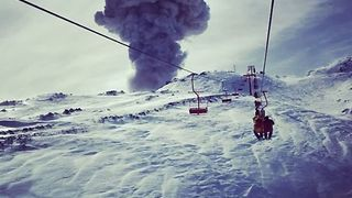 Chairlift Carries Skier Towards Erupting Chilean Volcano