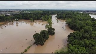 Drone Video Shows Scale of Flooding in Katy - Video