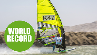 Female windsurfer breaks world speed record for the second time - Video