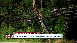 Car crashes into power pole in Elma, catches fire - Video