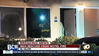 Man hospitalized after fire at El Cajon motel