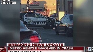 Las Vegas police vehicle involved in crash near Sahara, Sloan - Video