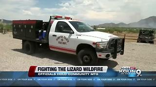 Lizard Fire causes evacuations in Dragoon and people attend a meeting to learn more - Video