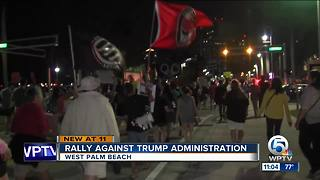 Anti-Trump protesters march through downtown West Palm Beach - Video