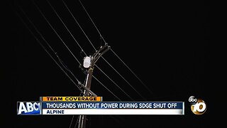 Thousands without power during SDG&E shut off