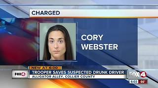 Trooper Saves Suspected Drunk Driver - Video