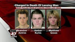 3 Lansing residents charged in death of man found in creek - Video