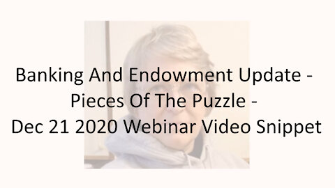 Banking And Endowment Update - Pieces Of The Puzzle - Dec 21 2020 Webinar Video Snippet